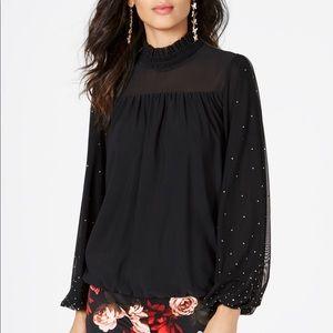 NWT Gorgeous Studded Mesh Sleeve Black Top